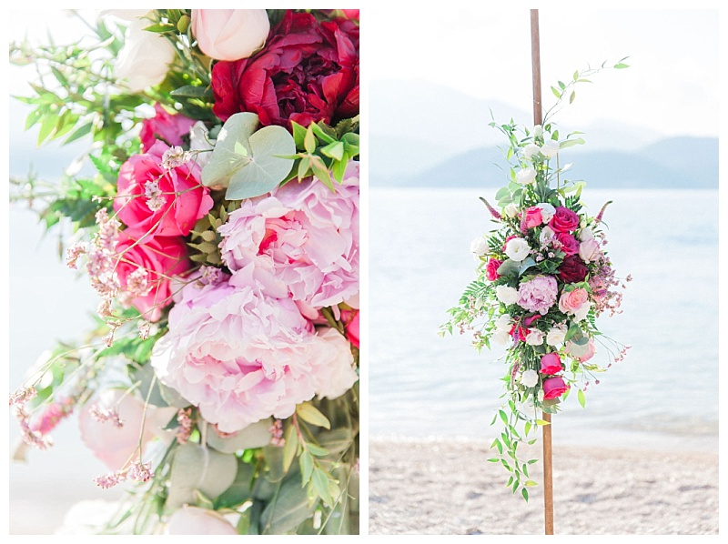 Fuschia pink and pale pink wedding arch flowers
