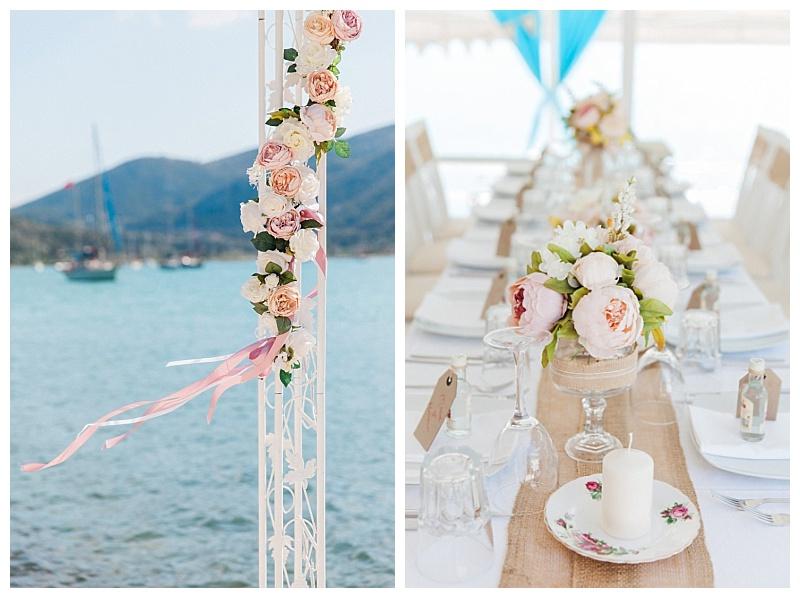 Pastel pink and peach peony wedding flower decoration