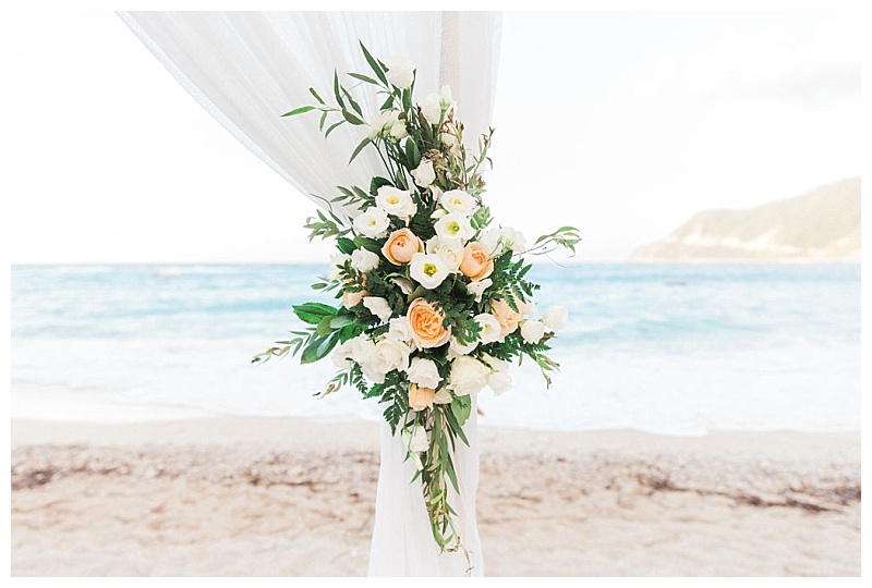 Peach peony and white rose wedding arch flowers