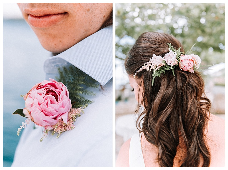 Pink peony buttonhole and pink peony bride hair decoration