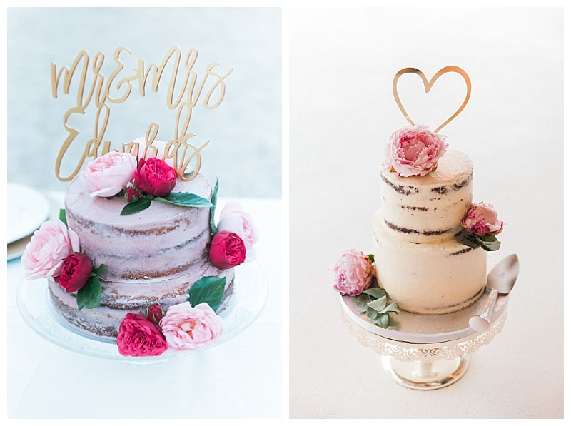 Naked style two tier wedding cakes with peony flower decoration