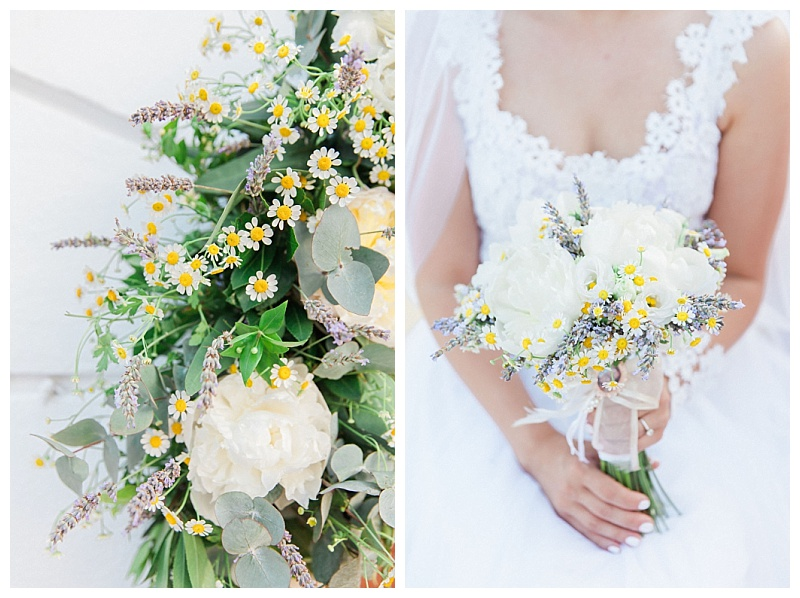 White peony, daisy and lavender bride bouquet