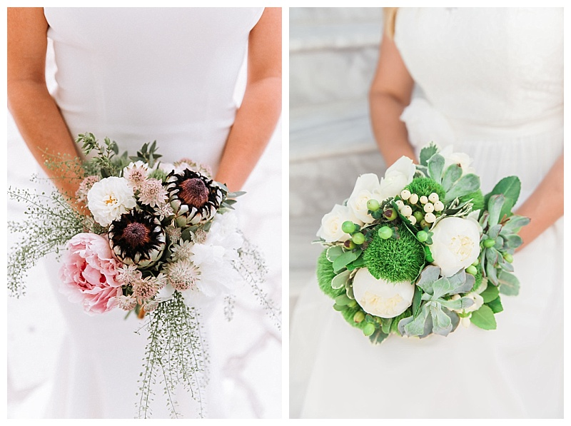 Bride bouquet with pink peony and proteia flower and white peony and succulent bride bouquet