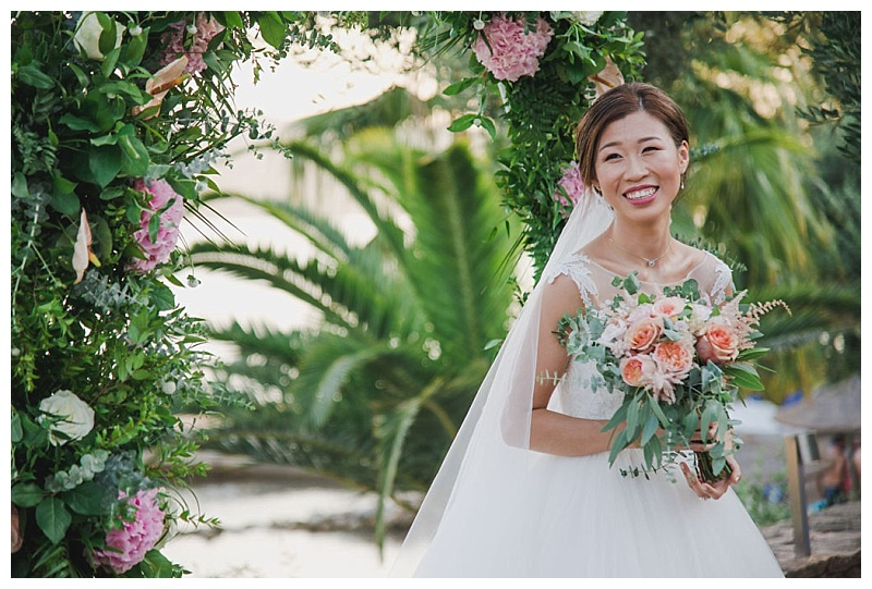 Peach peony and eucalyptus bride bouquet
