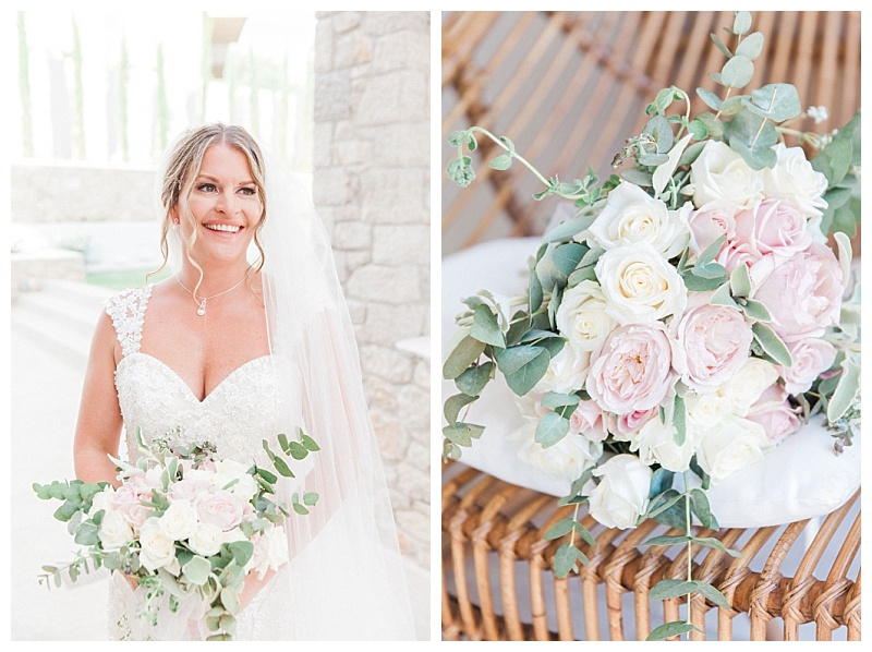 Pink peony, white rose and eucalyptus bride bouquet