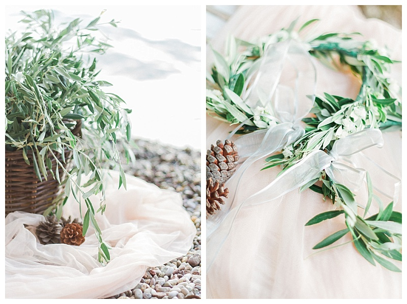 olive stefana wedding crowns and baskets of olive on the beach