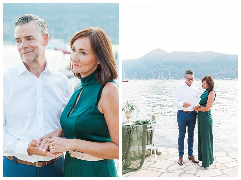 Vow renewal ceremony by the sea with vows