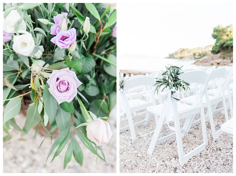 white chair on beach with olive bouquet attached