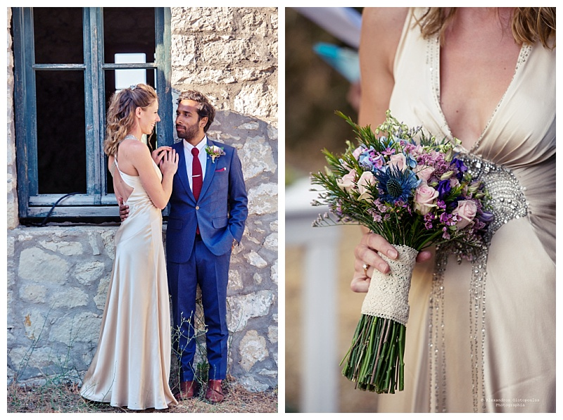 bright woodland wedding flowers against oyster satin gown