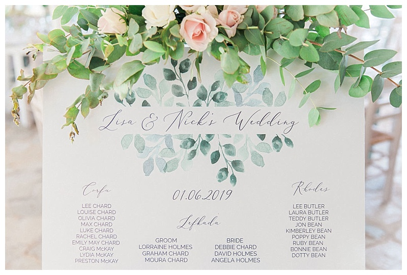 olive table plan with pink roses and eucalyptus flower decoration