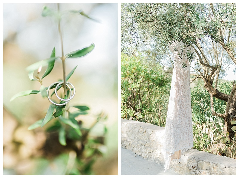 wedding rings and wedding dress hanging on olive tree