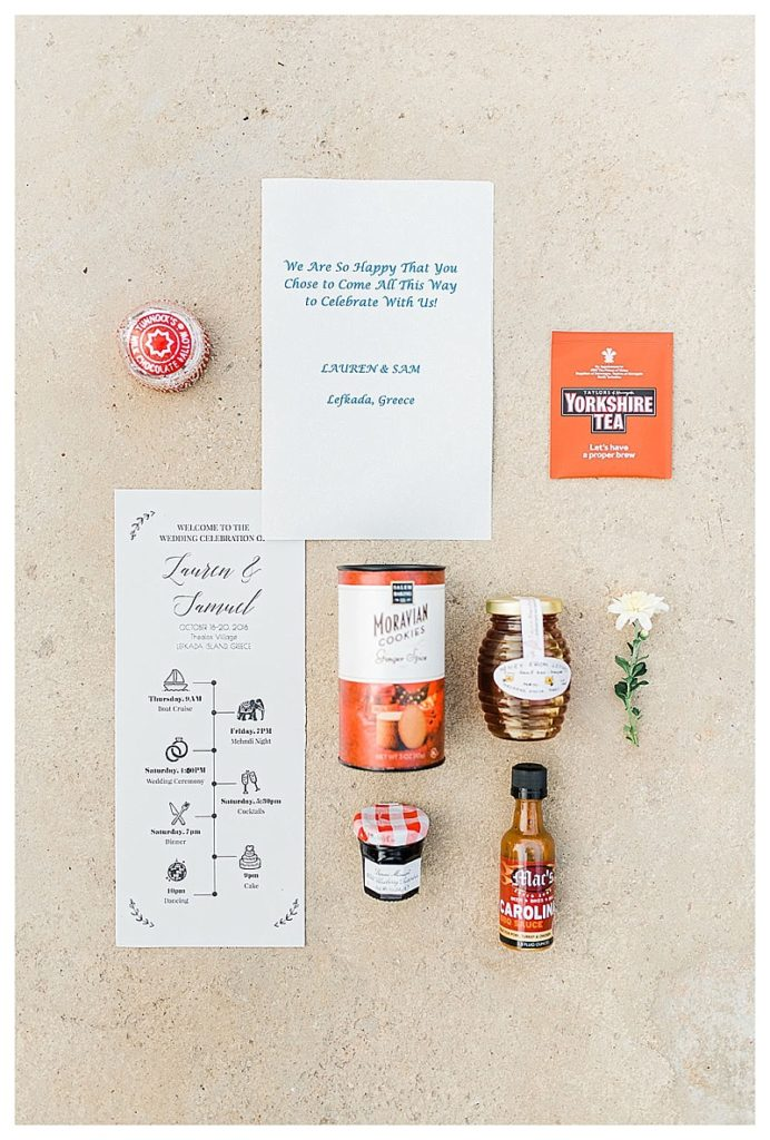 flat lay of food items in wedding guest welcome bag