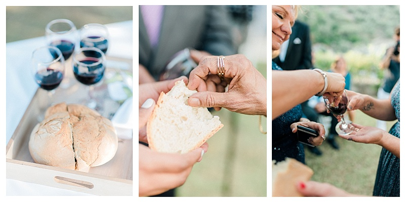 collage of bread and wine for communion at marriage ceremony in greece