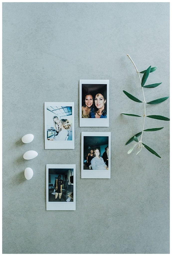 flat lay of polaroid images of pre-wedding mehndi indian inspired party greece