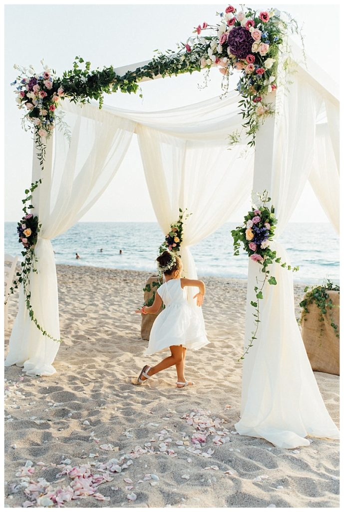luxury flower pink and purple flower wedding gazebo on beach