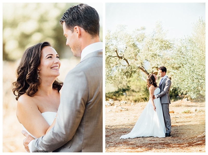 bride and groom in greek olive grove