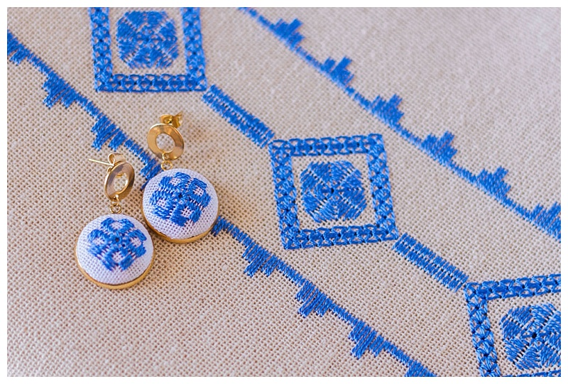 karsaniko lefkada embroidery blue earrings