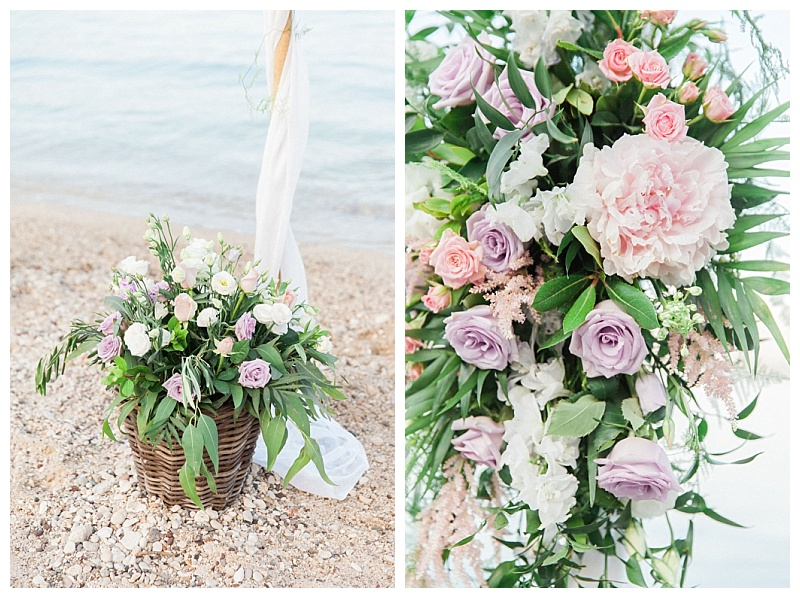 pink hydrangea and lilac rose beach wedding flowers