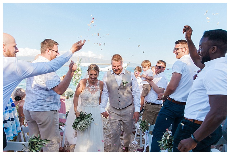 confetti shot at private beach wedding lefkada