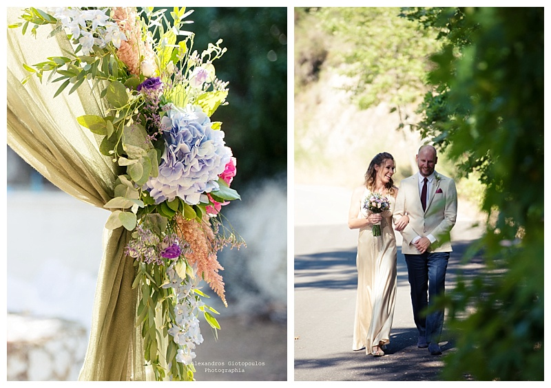bride and father walking along tree lined road to ceremony