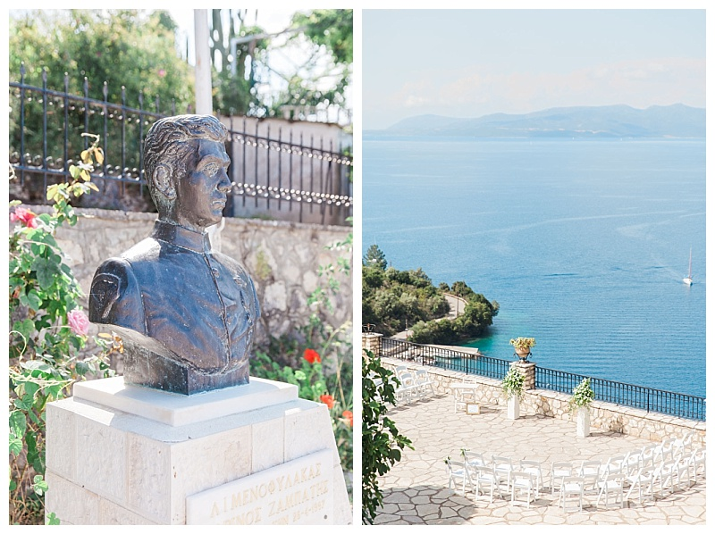 bust on marble base in paved square overlooking the sea Meganisi