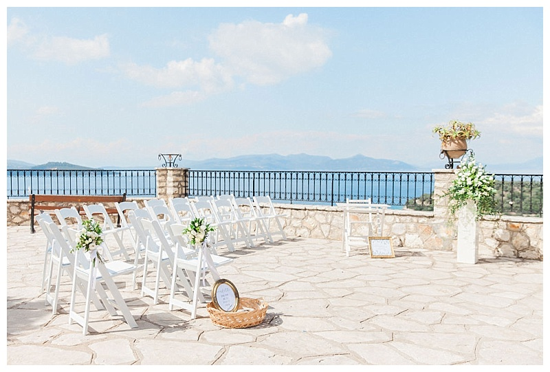 white chairs with olive and gold details in Spartohori Meganisi