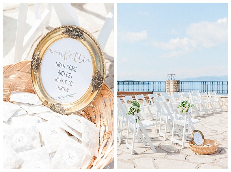 olive and gold wedding ceremony details picture frames