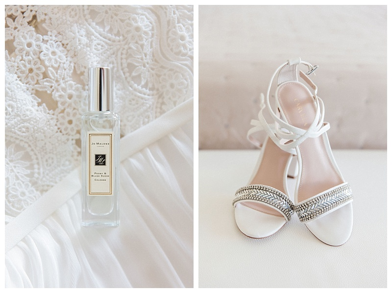 bride details jo malone perfume and white sandals with silver detail