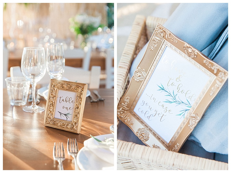 Gold picture frames with wedding table stationery with olive detail