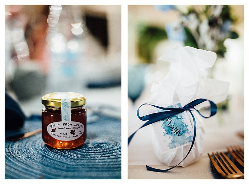 small jar of Lefkada honey wedding favor on blue mat