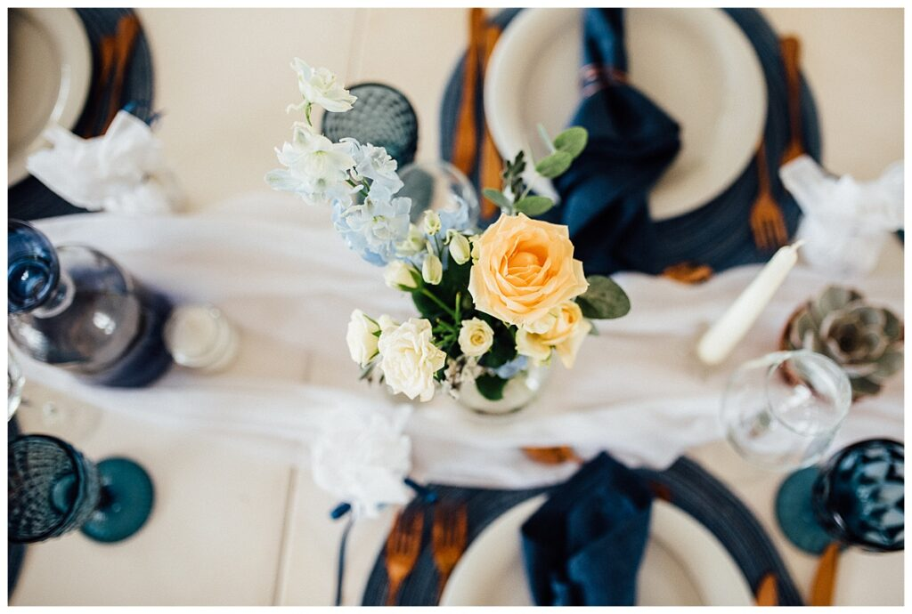 blue and copper micro wedding table decor