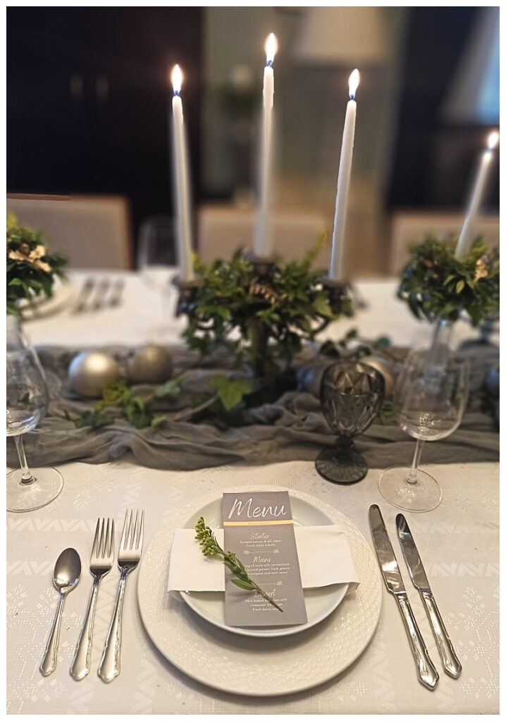 Table decor with Pantone grey and yellow colors of the year 2021