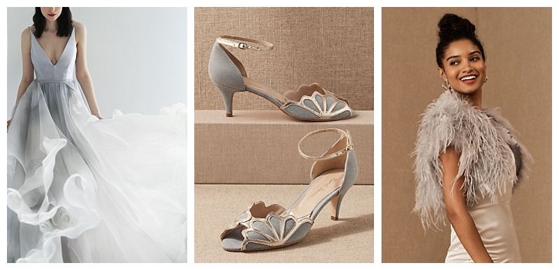 Pantone gray bridal gown, suede heels and ostrich bolero