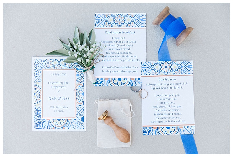blue and white greek wedding stationery