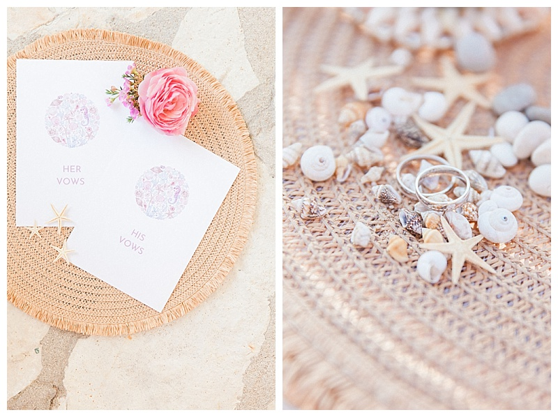 beach wedding vow books with seashell design