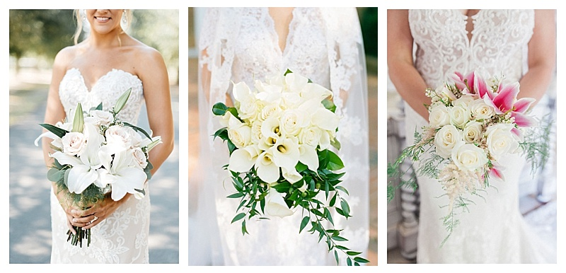 Three white lily and roses wedding flower bouquets