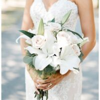 white lily and rose bride bouquet