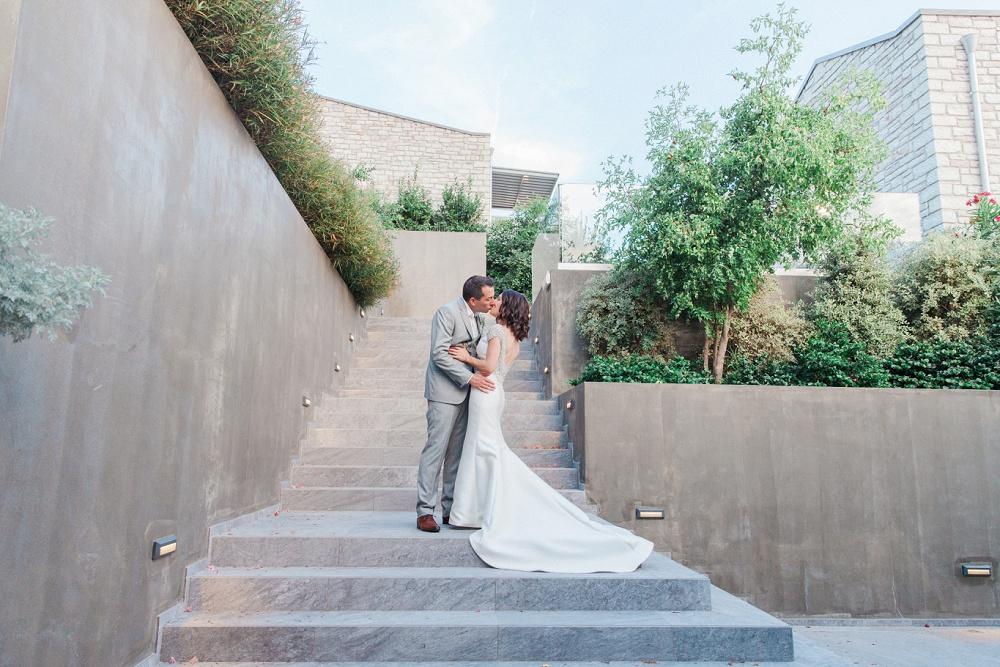 Couple Kissing at Sivota Wedding at Agios Nikolaos Hotel