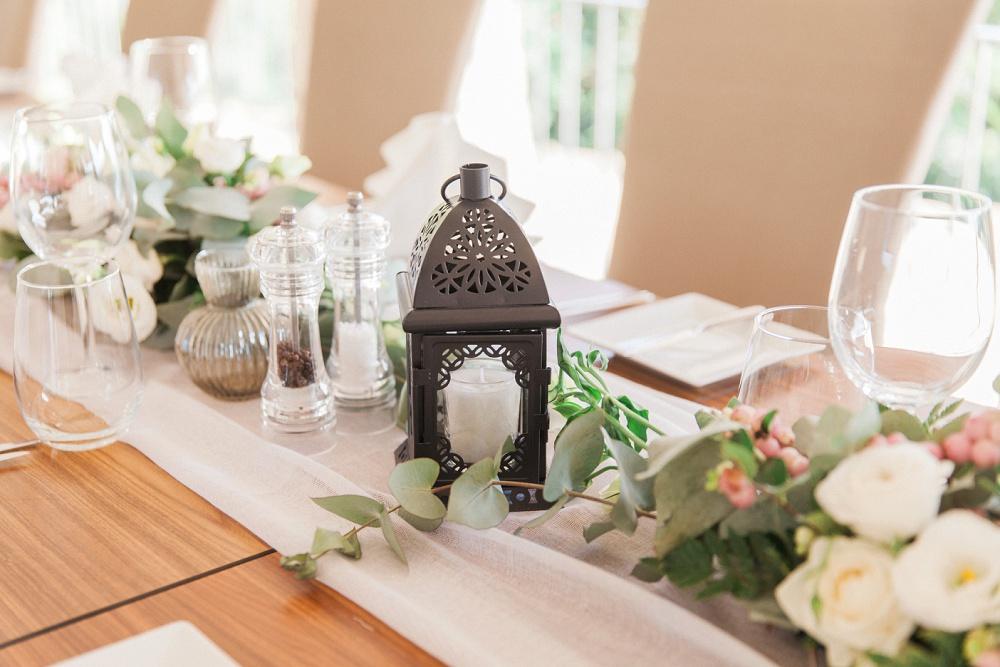 Table decor from Sivota Wedding at Agios Nikolaos Hotel