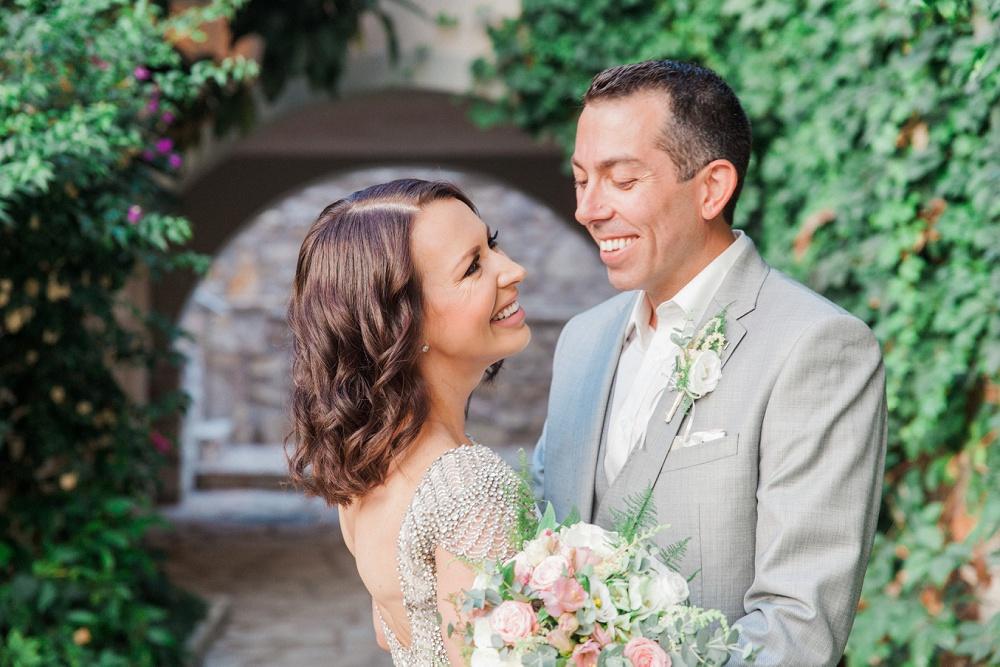Smiling bride and groom at Sivota Wedding at Agios Nikolaos Hotel