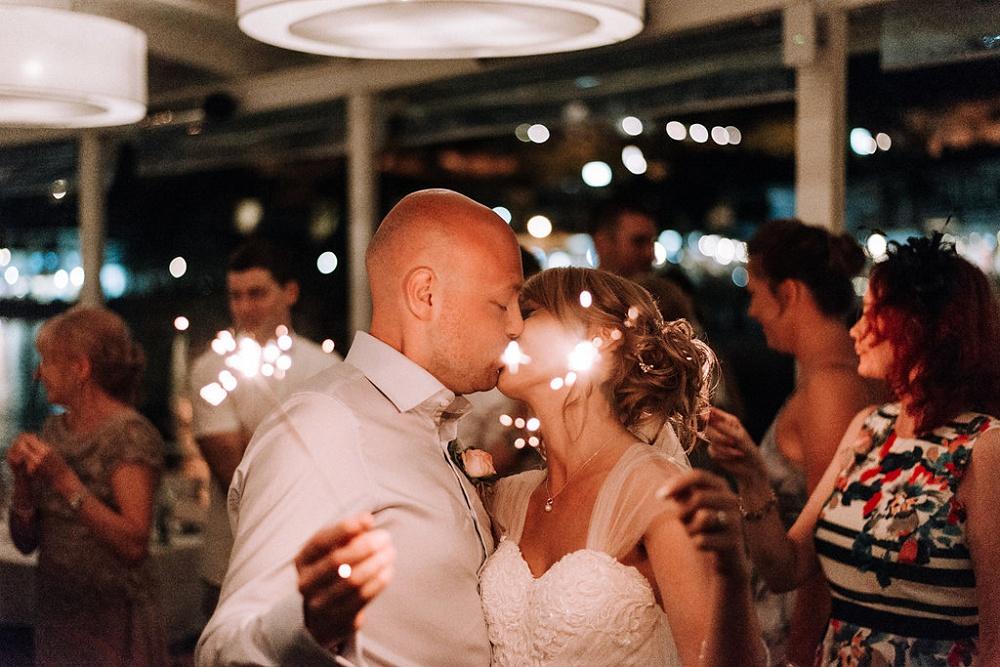 Couples sparkler Kiss at Parga Wedding by Lefkas Weddings