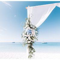 wedding arch flowers at porto katsiki beach lefkada