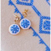 karsaniko lefkada embroidery blue earrings